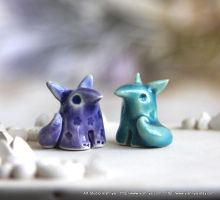 2 Tiny Spring Foxes by vavaleff