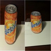 Sunkist anamorphic drawing illusion by OMKDrawings