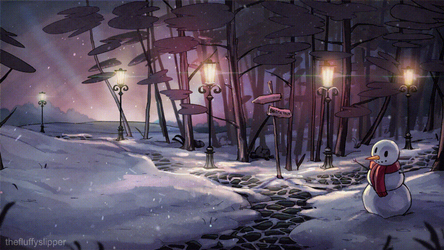 Animation: Snowy Dusk (without text) by fluffySlipper