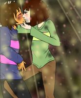 Frisk x Chara - first kiss by Arinna1