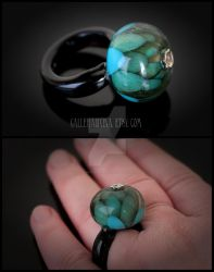 Teal glass flower ring by Faeriedivine