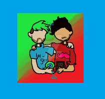 Markiplier and Jacksepticeye with Tim and Sam by rainbowshy14