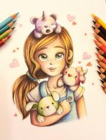 Girl with cute monsters by DoodleLucyArt
