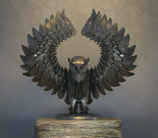 Rustic Brass Owl Cinema 4d V-Ray Substance Painter by botshow