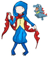 Day 10-Totodile Gijinka by bookwormy606