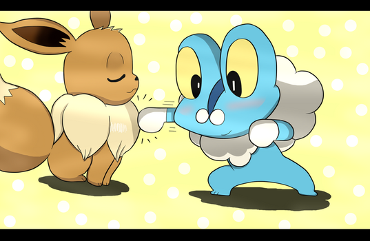 Eevee and Froakie by puky67