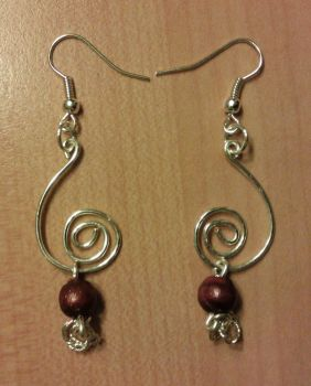 red pearls and silver spirals earrings by syn-O-nyms