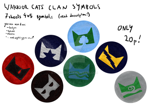 Warrior cat clan symbol badges/stickers/tokens/etc by jmruczus