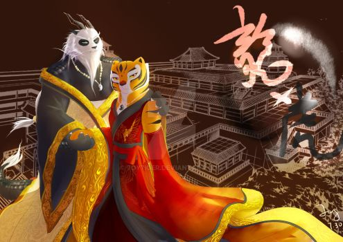 Dragon-po with Tigress by 7oy7iger