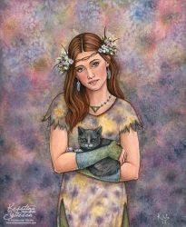 Girl and cat by wasteddreams