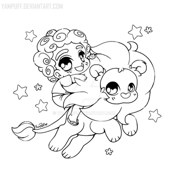 yampuff 122 25 steven and lion open lineart by yampuff - Coloring Page Yam