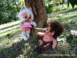 Myth-Babies Wolf Girl and Baby Satyr, 3 of 4 by briescha