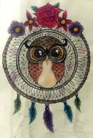 Owl on dreamcatcher by Marie-L-A