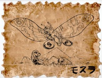 Mothra Scroll by hawanja