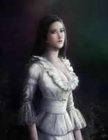 woman wears a white dress by lathander1987
