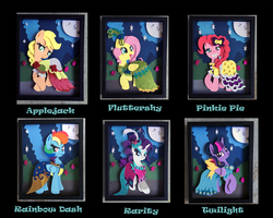 11x14 Mane 6 S5 Gala Dress Shadowboxes by The-Paper-Pony