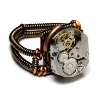 Steampunk ring watch movement by CatherinetteRings
