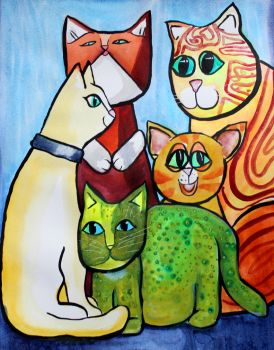 Colorful Cats in Portrait 4 by jempavia