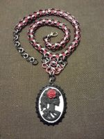 Dia de los Muertos Cabochon Chainmail Necklace by JAFantasyArt