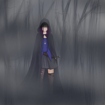 Exorcist walking in the dusk by OpsidianStar64