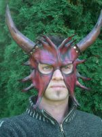 Horned Devil Leather Mask by Skinz-N-Hydez
