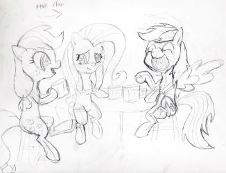 Applejack, Fluttershy, and Rainbow Dash at Table by InfinityDash