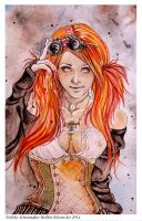 Steampunk Girl close up by Hollow-Moon-Art
