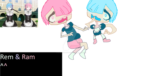 Rem and Ram - Random FanartSo by Courage-Is-Contented