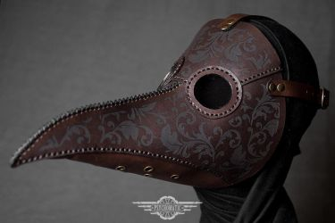 Brown plague doctor mask with engraving by LahmatTea