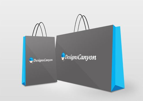 Shopping Bag PSD Logo Mock-up Design by DesignsCanyon