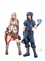 Lightning and Noctis by keishajl