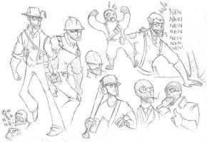 Team Fortress 2 sketches by Teh-Gardy