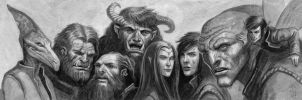 Earthdawn Wall of heads by McHughstudios