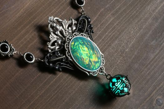 Steamgoth victorian necklace with glowing aqua orb by CatherinetteRings