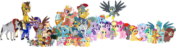Twilight, her friends, and the PAW Patrol by iamnater1225