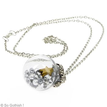 Necklace Strass and star pendant in a glass globe by Zengia