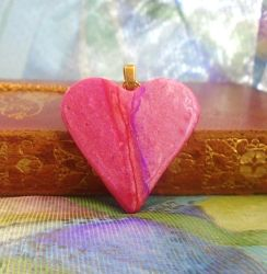 Purple and Lilac Polymer Clay Heart by aldcord