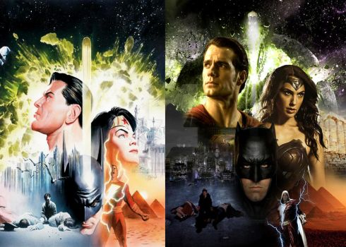 Batman v Superman Alex Ross style w/Shazam by thewolverine94