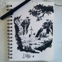 The Master Sword in the stone. Linktober 4 by alonsomolina1985