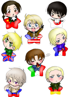 Hetalia chibis by VanillaBlackkitty