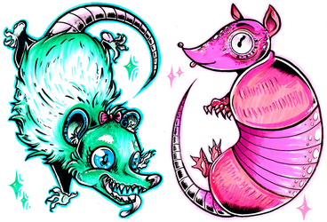 possum n armadillo by starblinx