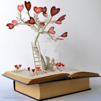 Tree of Love Book Sculpture by MalenaValcarcel