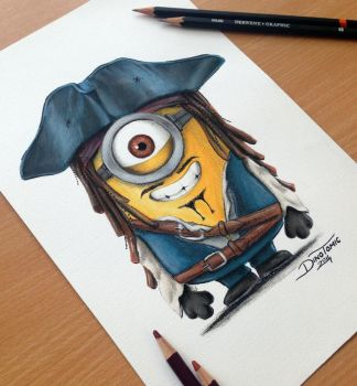 Minion Jack Sparrow Drawing by AtomiccircuS
