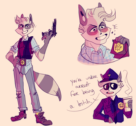 au where sly is a cop and is a lil shit anyways by foxwithmoustache