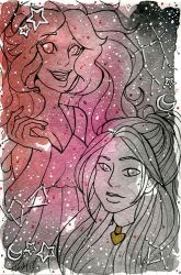 Galaxy Portrait Junko and Sybil by nickyflamingo