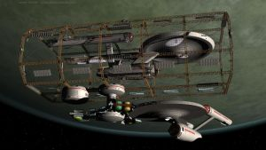 USS Enterprise, USS Paul Dirac and Spacedock by Jim197