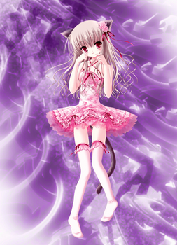 Kitten Anime Girl Pink and Purple by AndJur