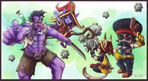 Mundo, Rin, Heimer, Lulu Fight Stick Commission by RinTheYordle