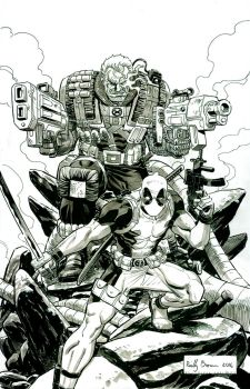 Cable and Deadpool by ReillyBrown