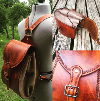 Handmade Antique Saddle Tan Leather Backpack by aGrimmDesign